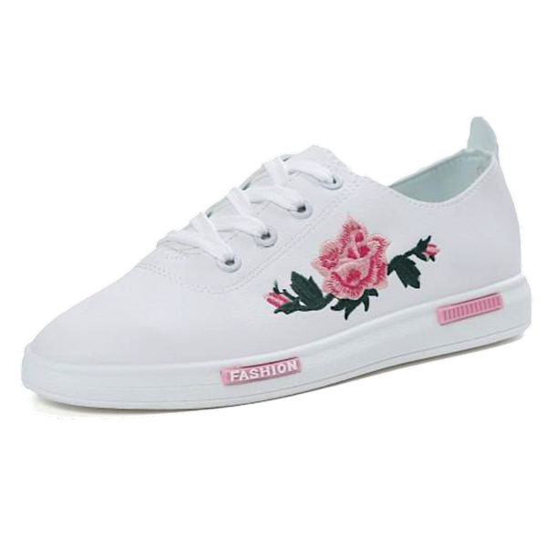 Floral Embroidered White Faux Leather Sneaker