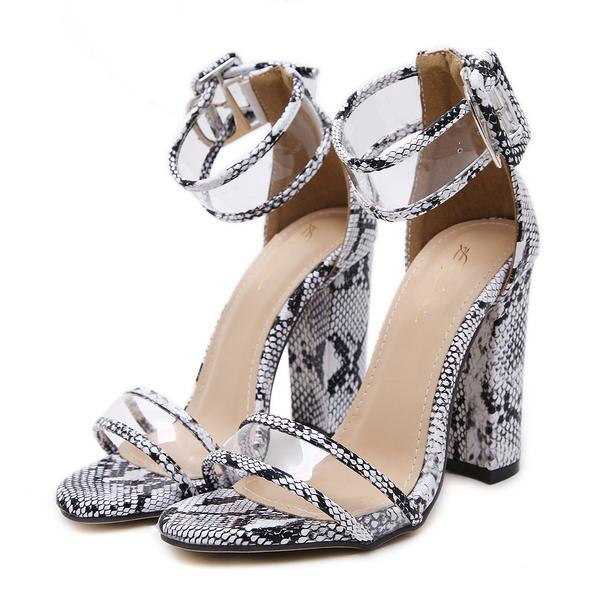 Alligator Clear Open Toe Ankle Strap Block Heels