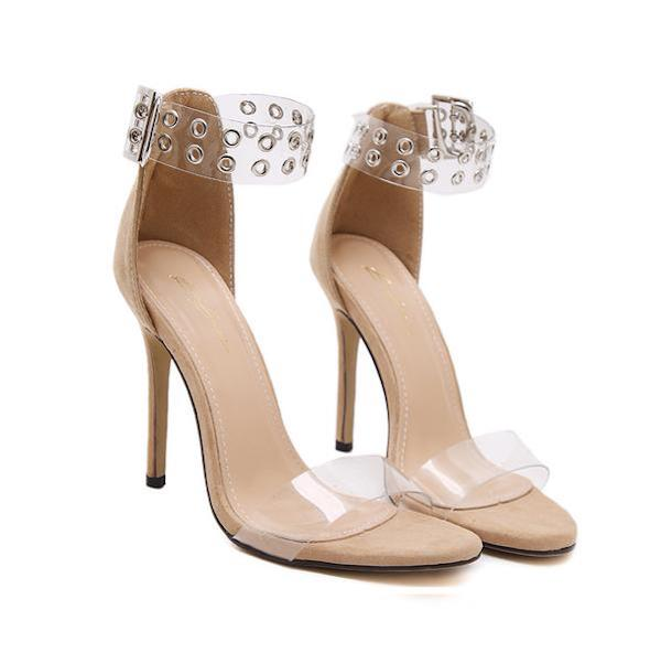 Eyelet Embellished Open Toe Ankle Strap High Heel Stilettos