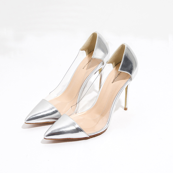 Metallic Pointed-Toe Clear High Heel Stilettos